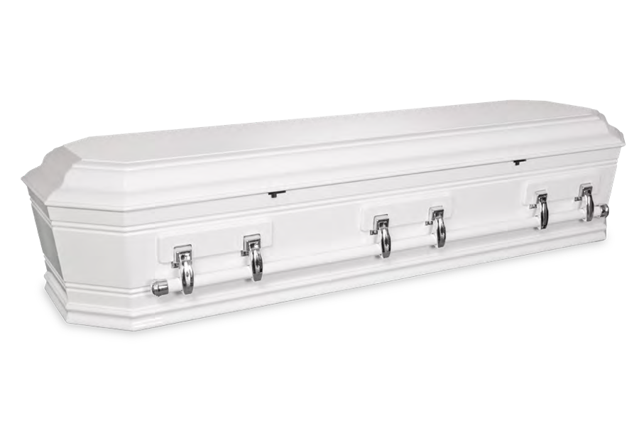 <h2>Grecian Urn White</h2><span>SOLID TIMBER COFFIN</span>